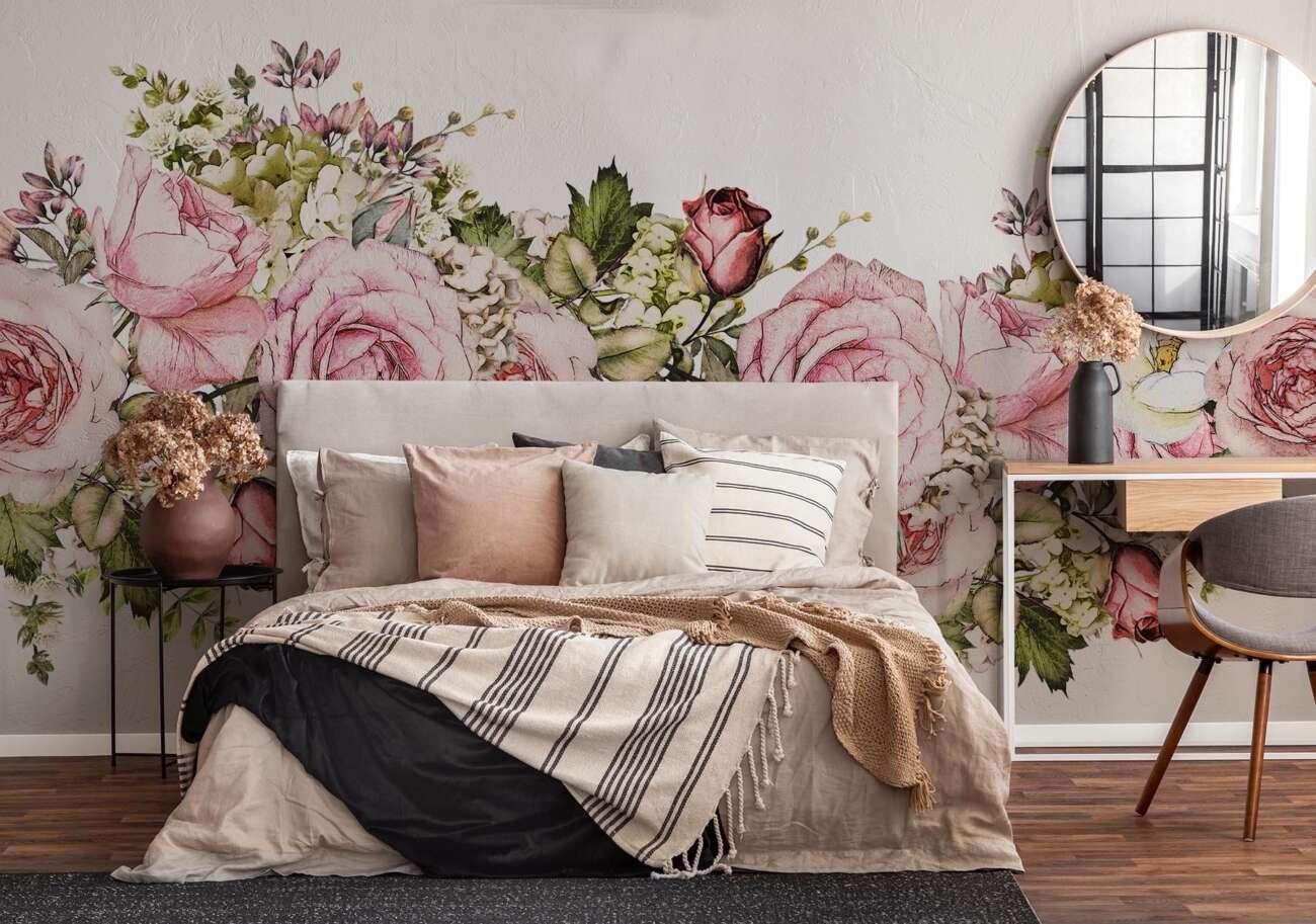 Naklejka kwiaty w sypialni